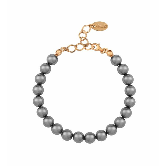 Pearl bracelet grey - silver rose gold plated - 1109