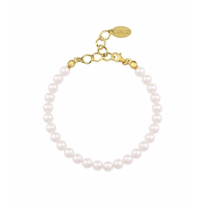 Perlenarmband weiß 6mm - Silber vergoldet - 1114