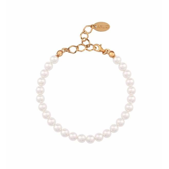 Pearl bracelet white 6mm - silver rose gold plated - 1115