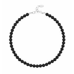 Perlenhalskette schwarz - Sterling Silber - 1110