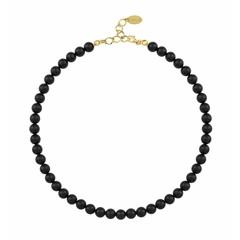 Perlenhalskette schwarz - Silber vergoldet - 1111