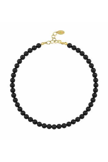Pearl necklace black 8mm - gold plated sterling silver - ARLIZI 1111 - Noa