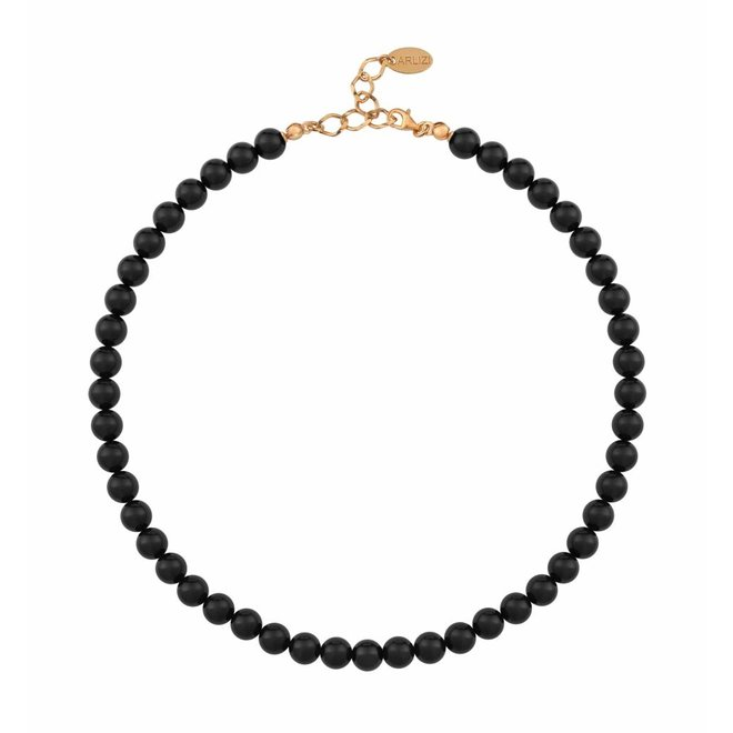 Pearl necklace black - silver rose gold plated - 1112