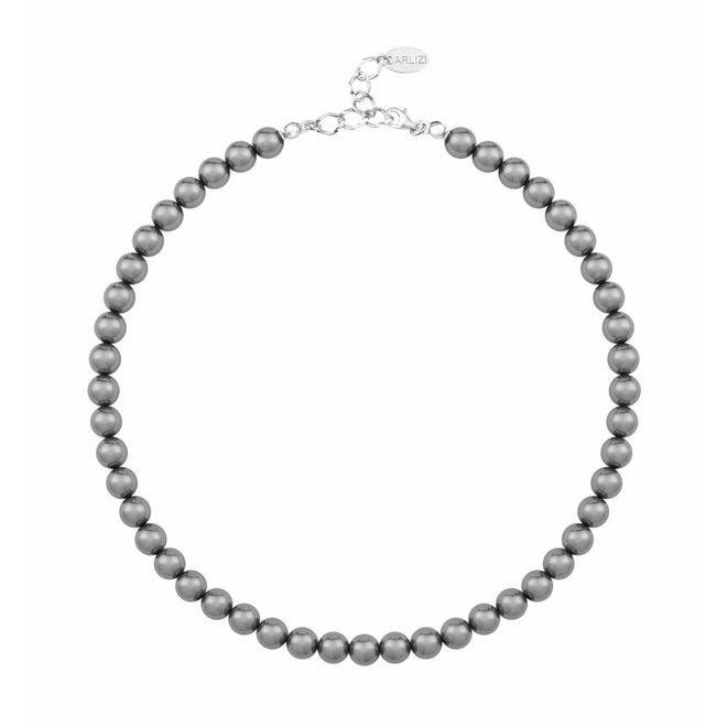 Pearl necklace dark grey 8mm - sterling silver - 1163
