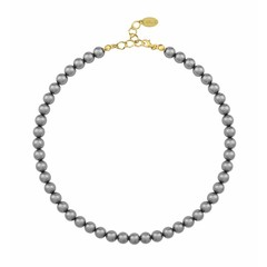 Pearl necklace dark grey 8mm - silver gold plated - 1164