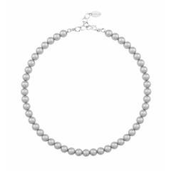 Perlenhalskette grau 8mm - Sterling Silber - 1160