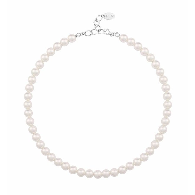 Pearl necklace white 8mm - sterling silver - 1155