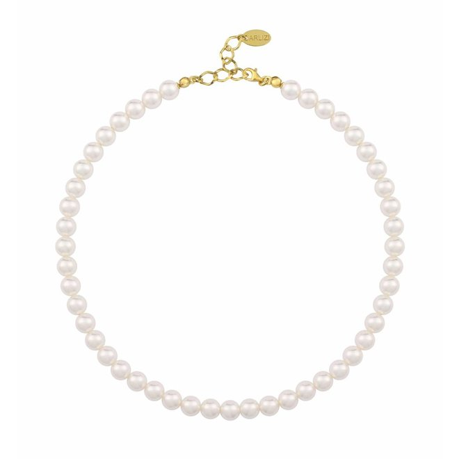 Pearl necklace white 8mm - silver gold plated - 1156