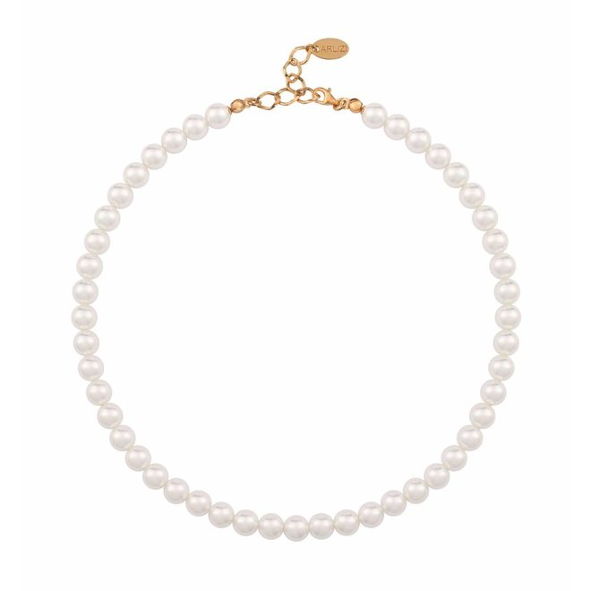 Pearl necklace white 8mm - silver rose gold plated - 1157