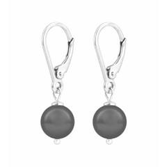Oorbellen grijze parel - sterling zilver - 1198