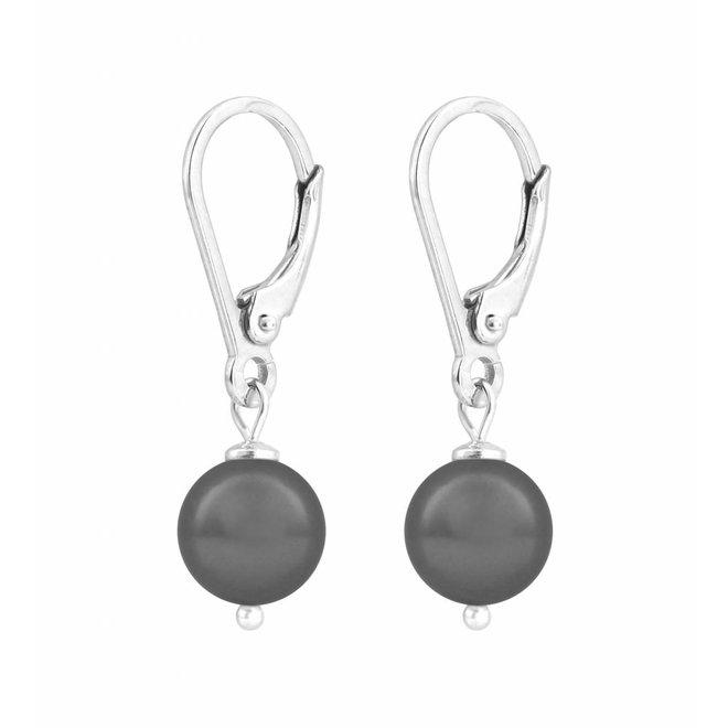 Ohrringe dunkelgraue Perle 8mm - Sterling Silber - ARLIZI 1198 - Noa