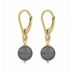 Ohrringe graue Perle - Silber vergoldet - 1200