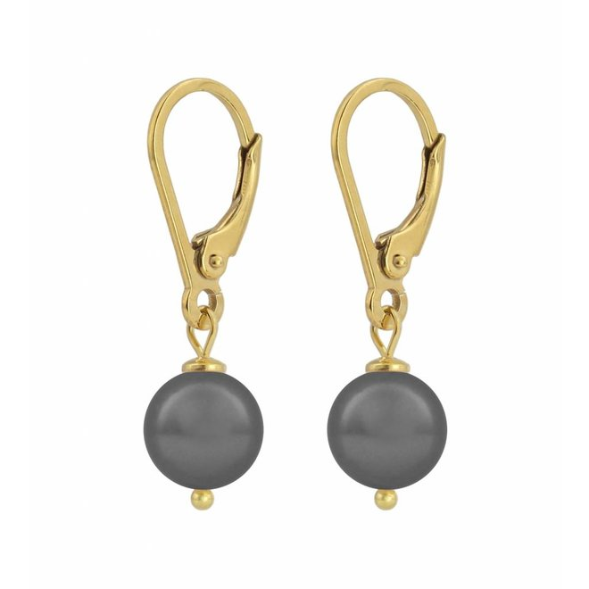 Earrings grey pearl - silver gold plated  - 1200