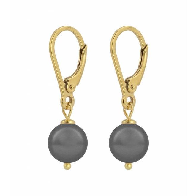 Ohrringe dunkelgraue Perle 8mm - Sterling Silber vergoldet - ARLIZI 1200 - Noa