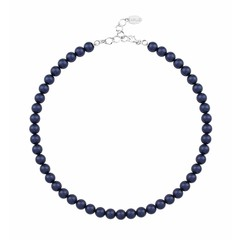 Pearl necklace blue 8mm - sterling silver - 1166
