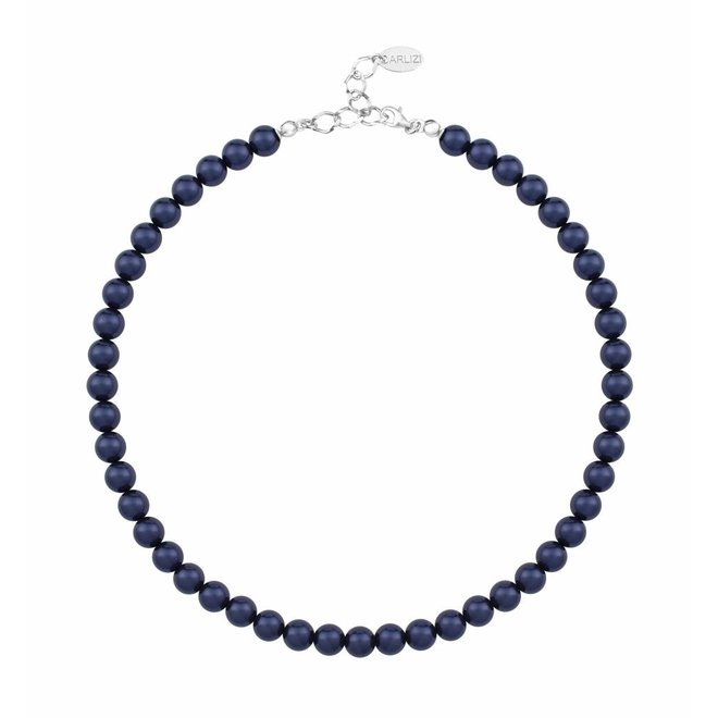 Parelketting blauw 8mm - sterling zilver - 1166