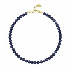 Pearl necklace blue 8mm - silver gold plated - 1167