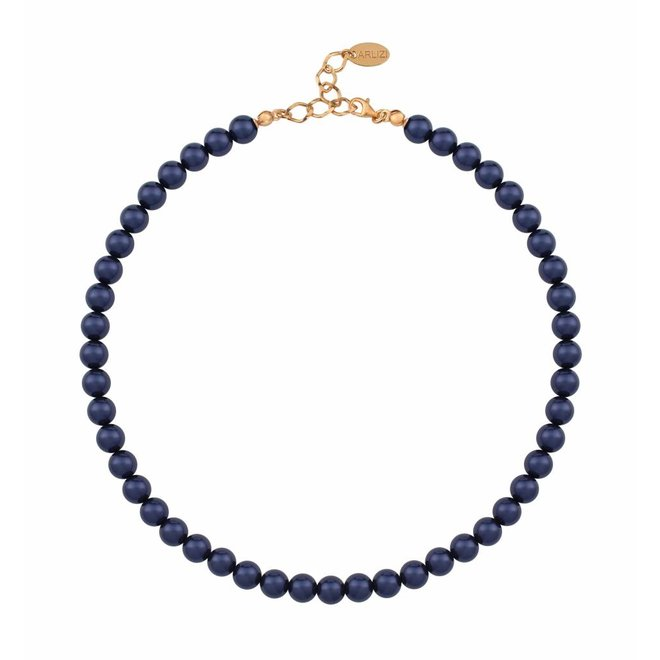 Pearl necklace blue 8mm - silver rose gold plated - 1168