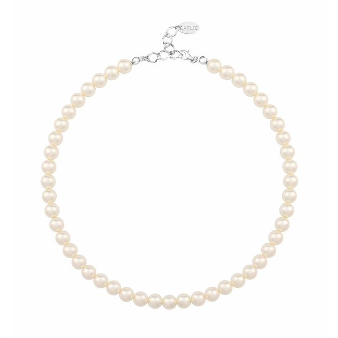 Pearl necklace cream 8mm - sterling silver - 1158