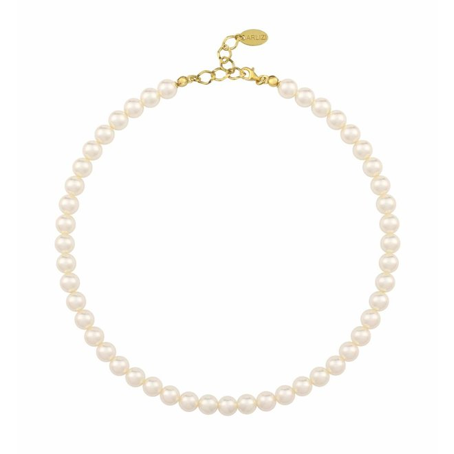 Pearl necklace cream 8mm - silver gold plated - 1159