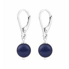 Oorbellen blauwe parel - sterling zilver - 1214
