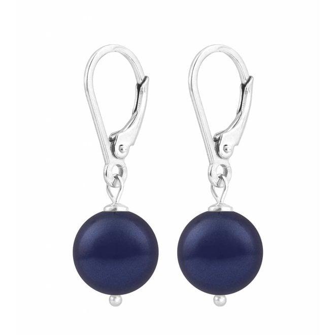 Ohrringe dunkelblaue Perle 10mm - Sterling Silber - ARLIZI 1215 - Noa