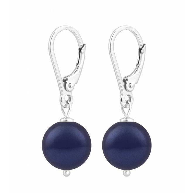 Oorbellen blauwe parel - sterling zilver - 1215