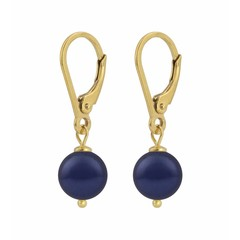 Earrings blue pearl - silver gold plated - 1216