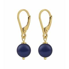 Oorbellen blauwe parel - zilver verguld - 1216