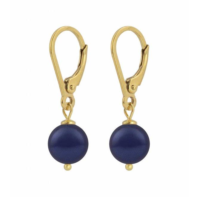 Ohrringe dunkelblaue Perle 8mm - Sterling Silber vergoldet - ARLIZI 1216 - Noa