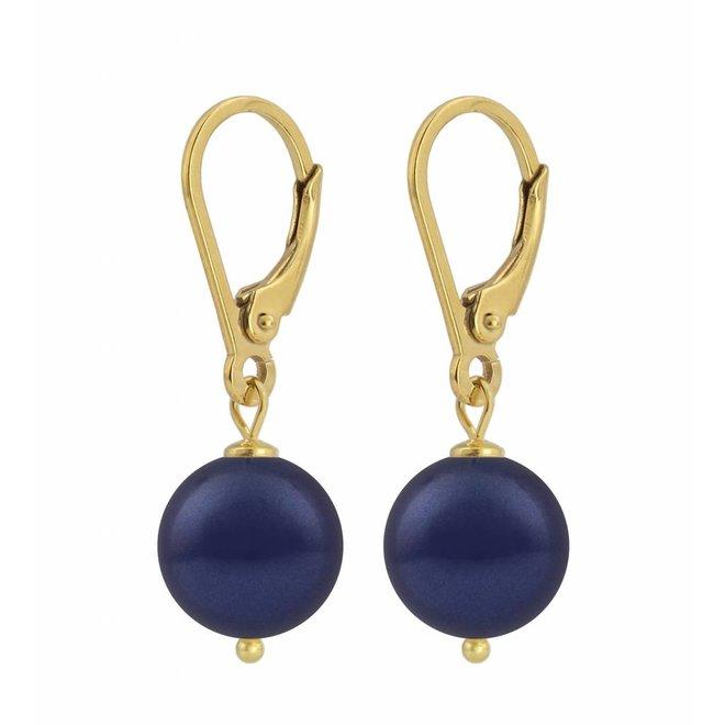 Ohrringe dunkelblaue Perle 10mm - Sterling Silber vergoldet - ARLIZI 1217 - Noa
