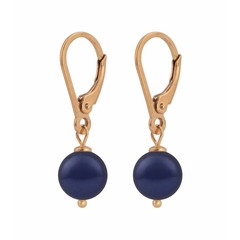 Earrings blue pearl - silver rose gold plated - 1218