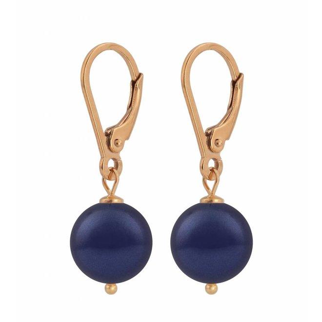 Ohrringe dunkelblaue Perle 10mm - Sterling Silber rosé vergoldet - ARLIZI 1219 - Noa