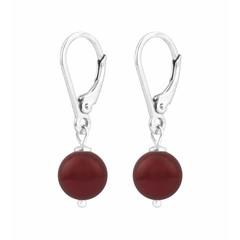 Earrings red pearl - sterling silver - 1220