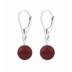 Oorbellen rode parel - sterling zilver - 1220