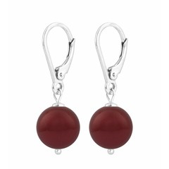 Ohrringe rote Perle - Sterling Silber - 1221