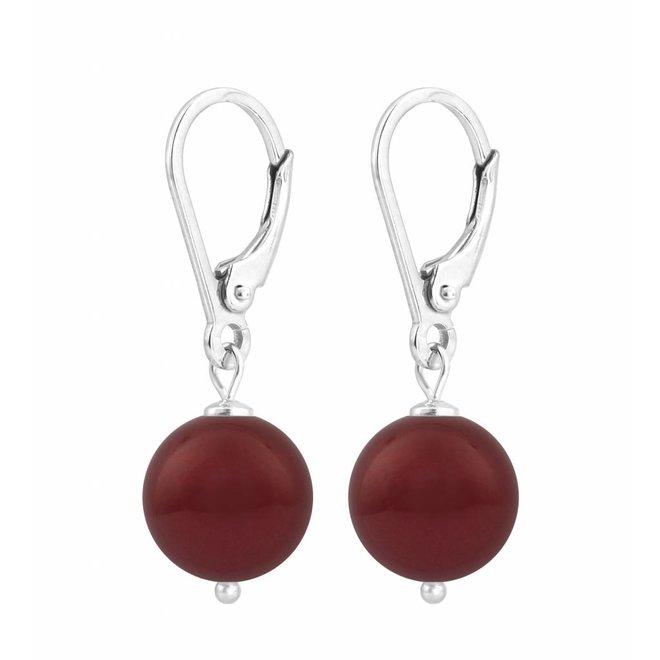 Oorbellen rode parel - sterling zilver - 1221