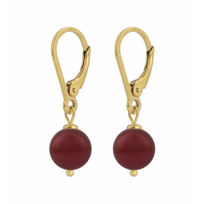 Ohrringe rote Perle - Silber vergoldet - 1222