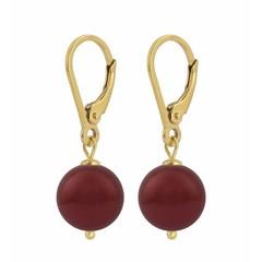 Ohrringe rote Perle - Silber vergoldet - 1223