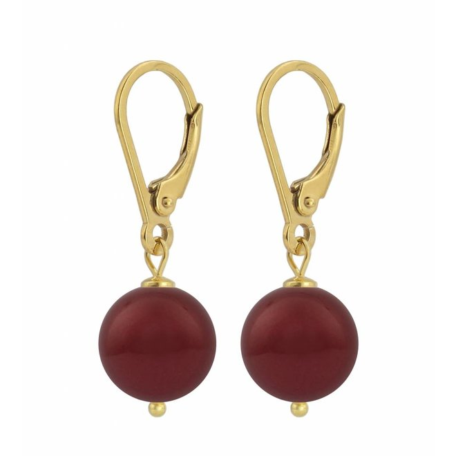 Earrings dark red pearl 10mm - gold plated sterling silver - ARLIZI 1223 - Noa
