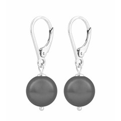 Oorbellen grijze parel - sterling zilver - 1199