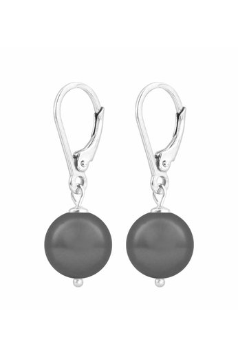 Ohrringe dunkelgraue Perle 10 mm - Sterling Silber - ARLIZI 1199 - Noa