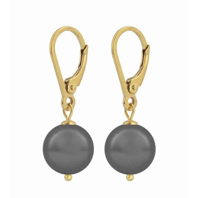 Oorbellen grijze parel - zilver verguld - 1201