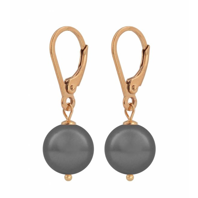 Earrings grey pearl - silver rose gold plated - 1203