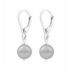 Oorbellen lichtgrijze parel - sterling zilver - 1204