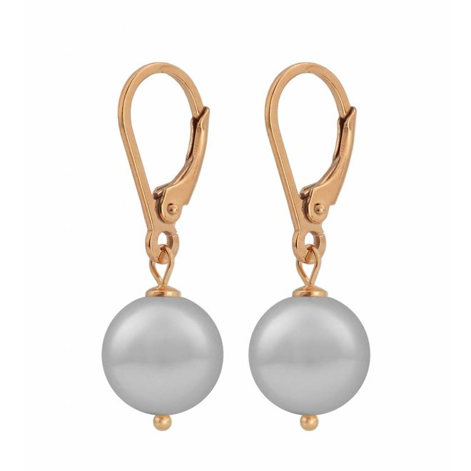 Earrings light grey pearl - silver rose gold plated - 1209