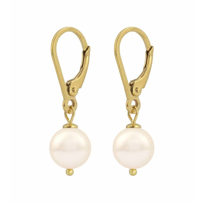 Earrings cream pearl 8mm - gold plated sterling silver - ARLIZI 1212 - Noa