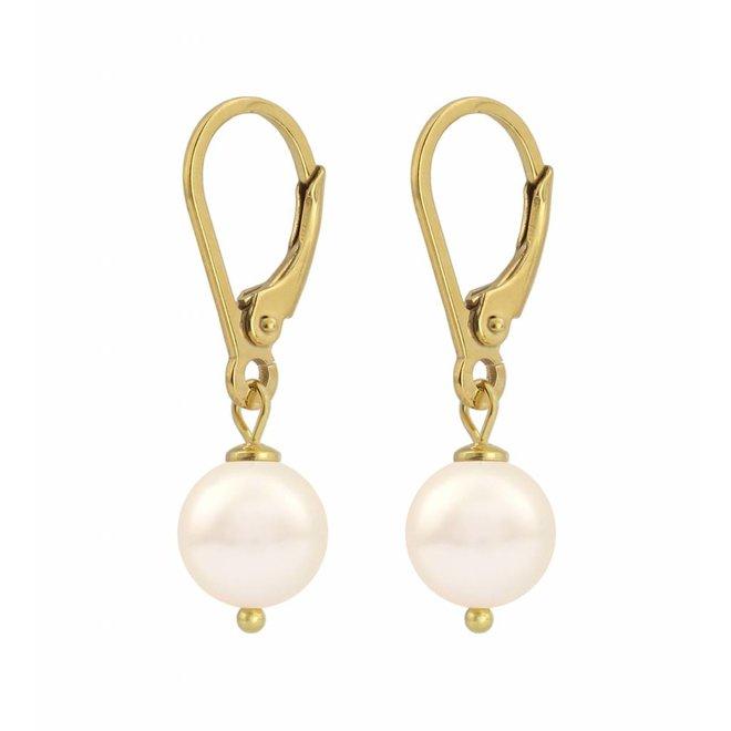 Ohrringe creme Perle - Silber vergoldet - 1212