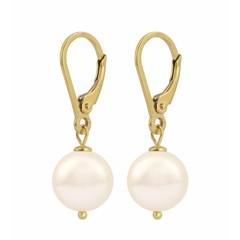 Ohrringe creme Perle - Silber vergoldet - 1213