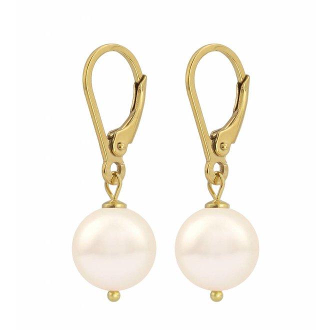 Ohrringe creme Perle 10mm - Sterling Silber vergoldet - ARLIZI 1213 - Noa